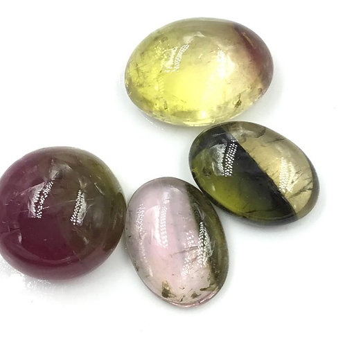 Bi color tourmaline cabochon tourmaline pink and green gemstone
