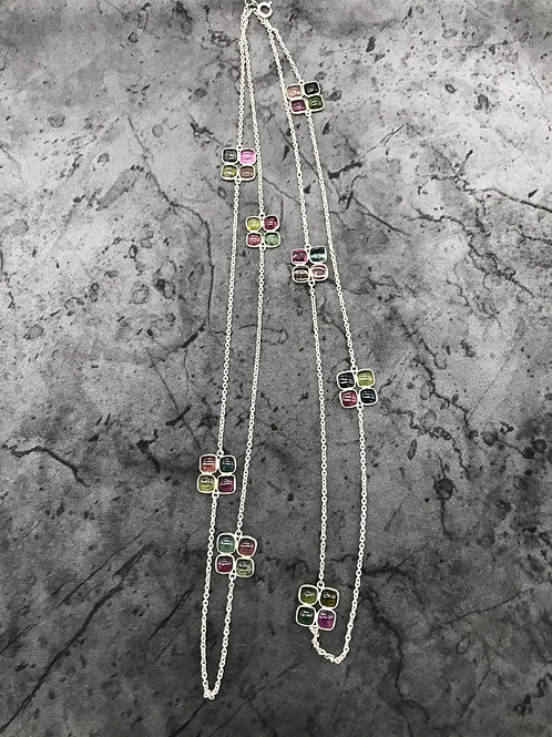 "SILVER JEWELERY CHAIN Necklace 44"" Multi Tourmaline Plain Square fancy shape"