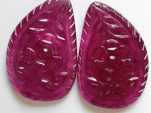 Rubellite Carving Pair carving Rubellite gemstone for jewels