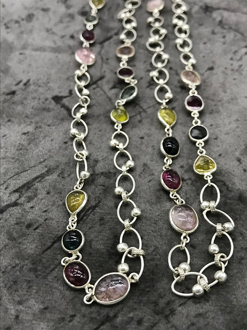 "SILVER JEWELERY CHAIN Necklace 44""Multi Tourmaline , Morganite Plain Mix fancy"