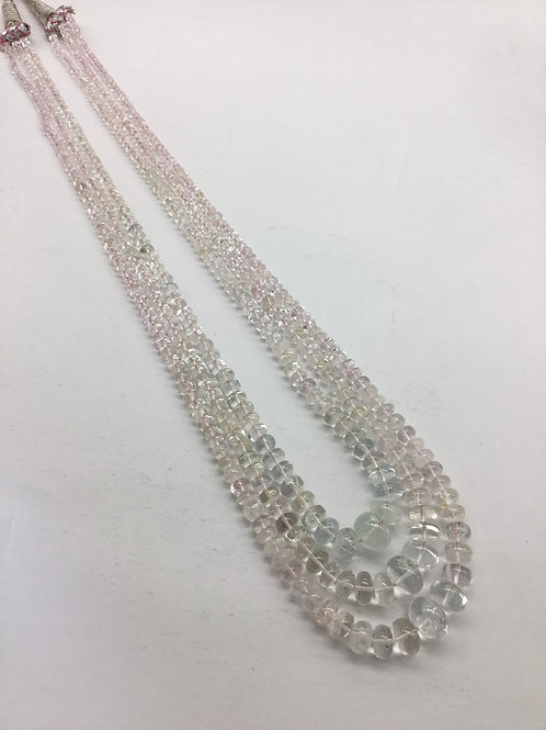 Morganite + Aquamarine Smooth Beads 3strand Necklace 310carats