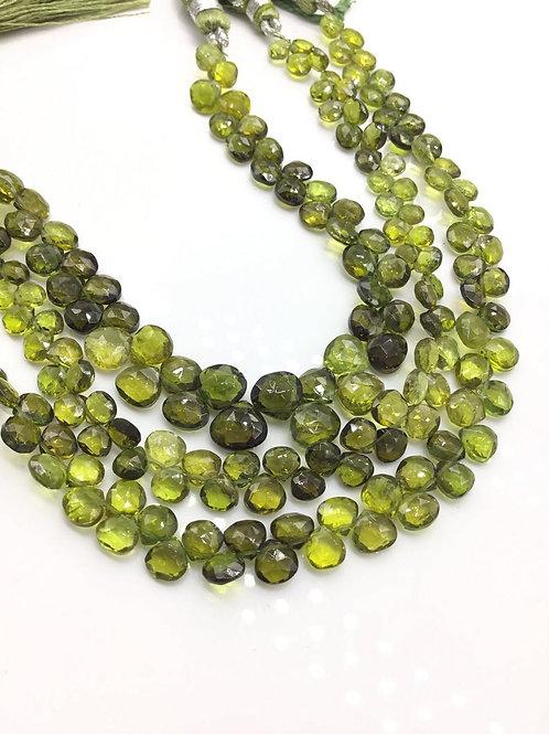 Tourmaline Green Pear / Almond Natural Gemstone Necklace 8'' Mixed Tourmalines