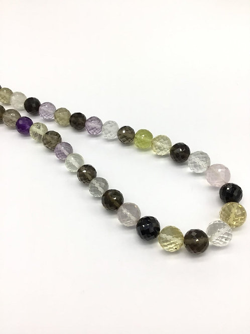 Mixed Gems Faceted Balls Multiple Gems Jewellery 16inch strand 251.20carats