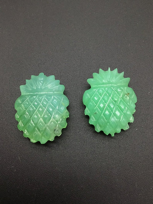 Chrysoprase Fancy Pineapple Cut Stone Almost Pair gemstone for jewellery 81 cts