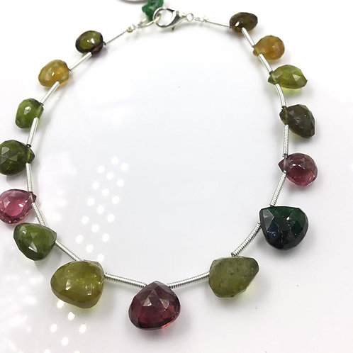 Tourmaline Pear Beads Faceted Multi Tourmaline Colours 49.25 carats