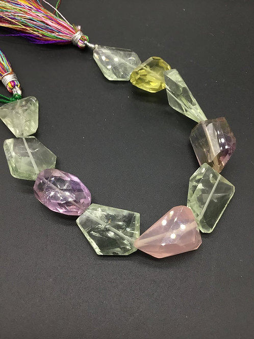 Semi Multi 8 '' Precious Gemstone Faceted Tumble 166.70 Ct Gemstone necklace
