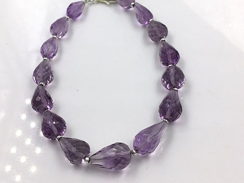 Pink Amethyst Faceted Drops Jewelry Beads Gemstone
