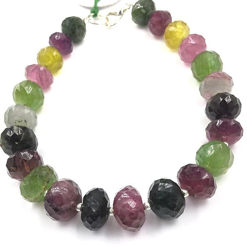 Multi Tourmaline Faceted Beads Size 9 To 12 mm , 150.55 cts 23 Pieces Natural