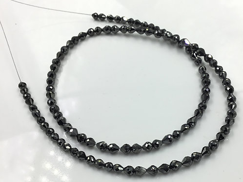 Black Diamond Long Drilled 3x3.5 To 3.5x4 mm Beads