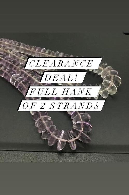 Closeout Sale price Pink Amethyst Plain Tyre 2 Beadsstrands full hank wholesale