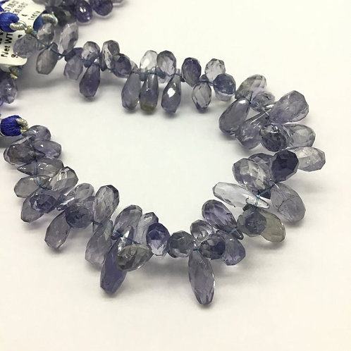 Iolite Drops Faceted Natural 8'' Gemstone Necklace 1 Strand Top Quality Iolite