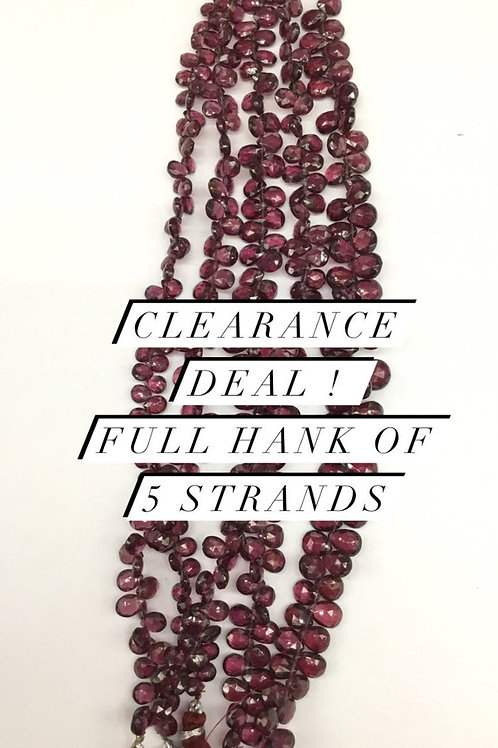 Closeout Sale price red Garnet Faceted Almond 5strands full hank wholesale