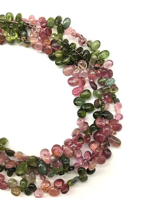 Tourmaline Multi Plain Pear / Almond Natural Gemstone Necklace 8'' Smooth
