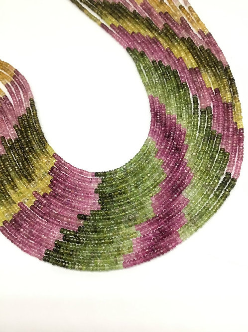 Multi Tourmaline 16 '' Faceted Beads 3 MM Natural Gemstone Handmade Necklace