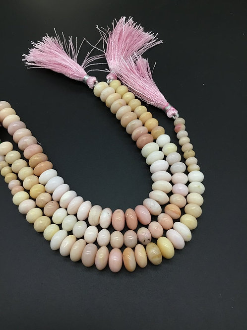 Pink Opal 8 '' Smooth Beads 6 to 10 MM Natural Gemstone Necklace Handmade
