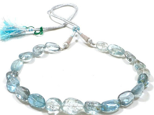 Necklace 16 '' Aquamarine Africa Smooth Tumble 1 Line Set  Handmade Natural