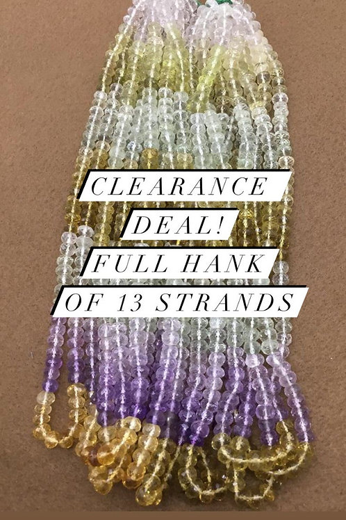 Closeout Sale price Semi multi Faceted Beads 13 strands full hank wholesale