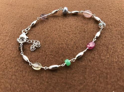 Silver Jewellery 925 Sterling Silver 10'' Semi Multi Gemstone Silver Bracelet