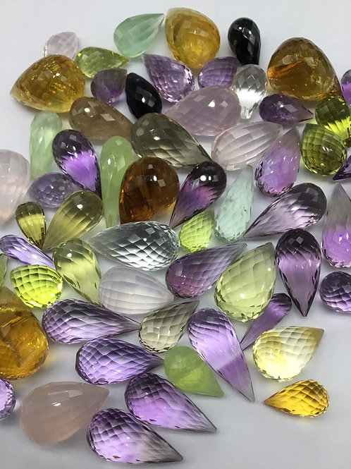 Mixed Gems Multiple gemstones undrilled faceted drops suitable for jeweller