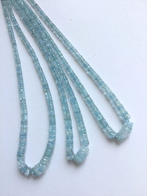 Aquamarine Faceted Tyre 1 Strand Natural Gemstone