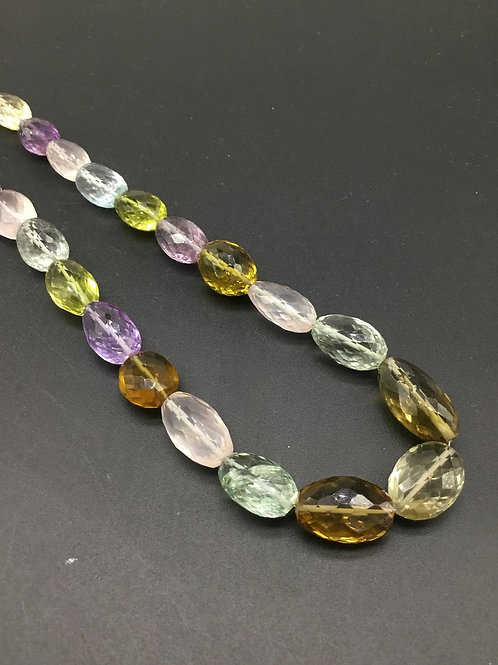 Multiple Mixed Gemstone 16 '' Faceted Tumble Natural Gemstone necklace 312.20 Ct