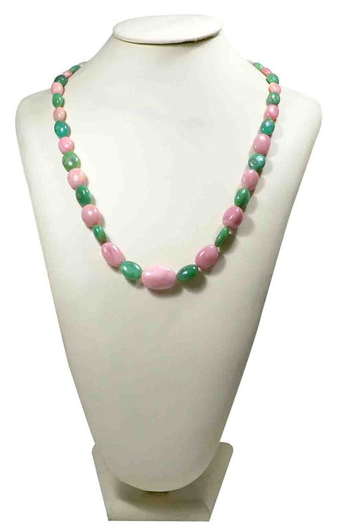Chrysoprase + Pink Opal 16 '' Plain Tumble Natural Gemstone Necklace 230 Ct Bead