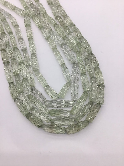 Green Amethyst 16 '' Concave cut Beads 1 strand 200 carats