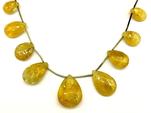 Citrine Pear Faceted Natural gemstone necklace 8'' Jewellery making Pear Citrine