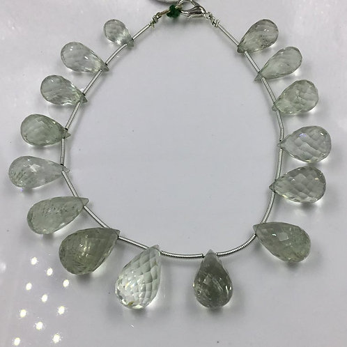 Green Amethyst Faceted Tear Drops Beads Natural Gemstones Shape