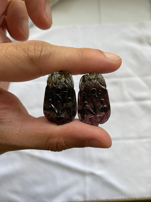 Watermelon tourmaline carving pairs. Bi color tourmaline carvings
