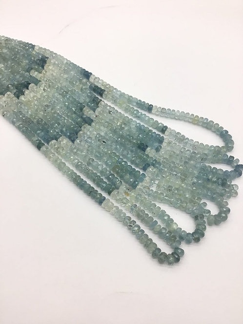 Aquamarine 16 '' Shaded Faceted Beads 1 strand 92carats size-5 to 6 MM