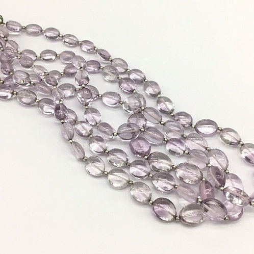 Pink Amethyst Plain Smooth Ovals Gemstone Jewellery Necklace 16inch length 135ct