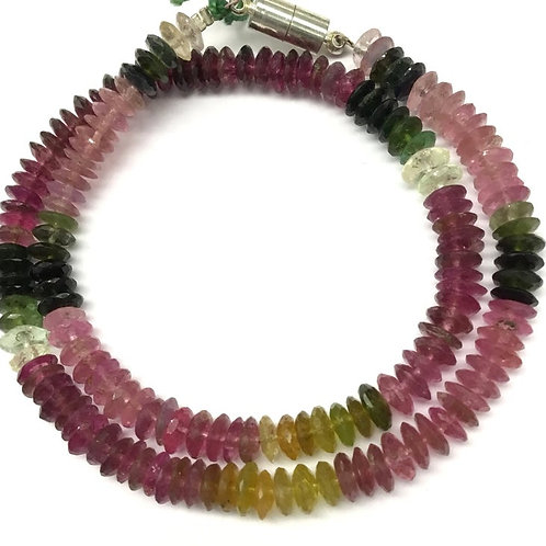 Multi Tourmaline 14 '' Faceted Tyre 1 Strand Natural Gemstone Handmade Necklace