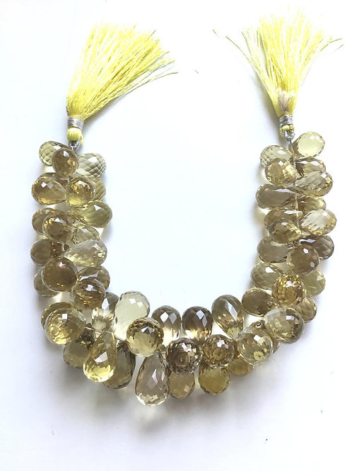 Lemon Quartz Faceted Drops Natural Gemstone Necklace Top quality Shape Gemstone