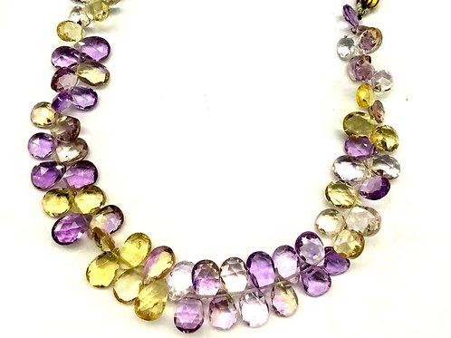 Ametrine Pear Faceted Natural Gemstone 8'' Necklace 1 Strand Ametrine Pear