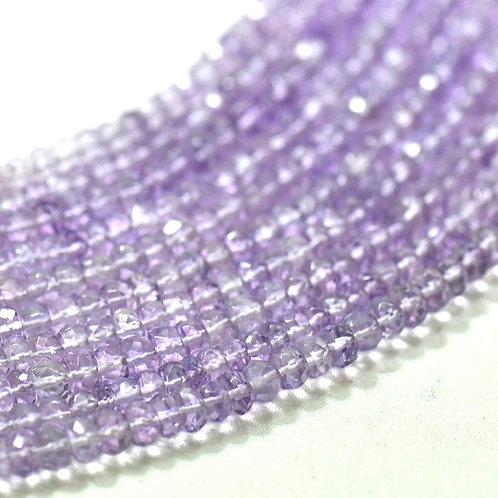 Pink Amethyst Natura - 16'' Brazil Faceted Beads 1 Strand Gemstone