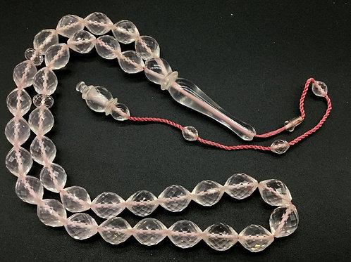 Rose Quartz 22 '' Natural Gemstone Necklace Handmade Faceted Oval