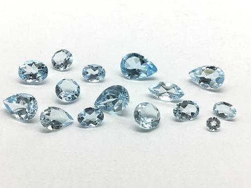 Sky Blue Topaz Cut Stones Mix Fancy Top Clarity 15 pieces 34.8 carats