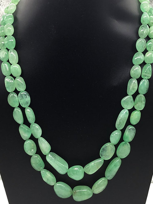 Russain Emerald Tumbled Necklace 100 % Natural Emerald Tumble Emerald Beads