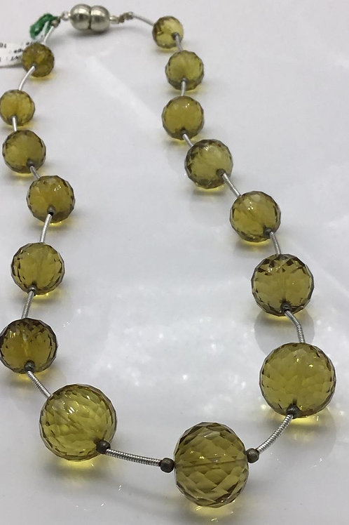 Honey Quartz Faceted Balls Natural Gemstone Necklace Size 10 To 14 mm, 165.20 ct