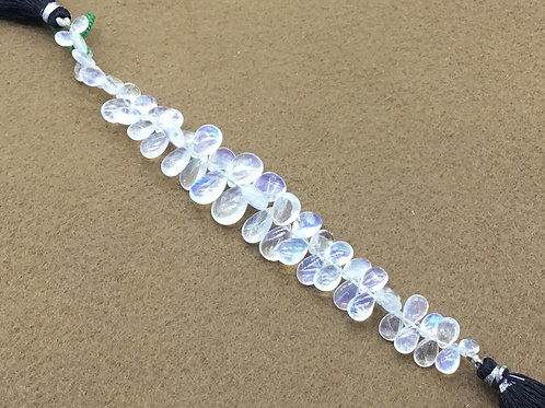 White Rainbow Moonstone Blue Flame Drops Natural Gemstone Necklace