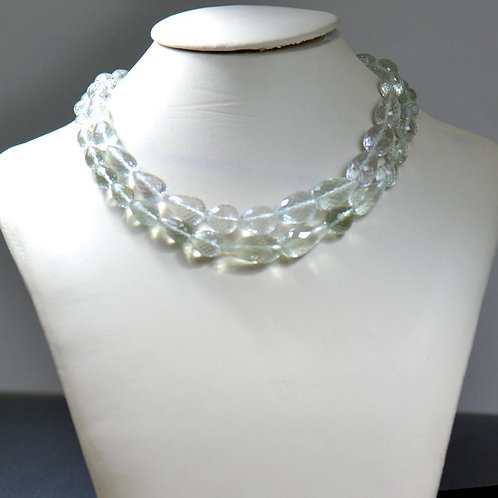 Green Amethyst - 16'' Faceted Drops 1 Strand Brazil Gemstone Jewelry Beads