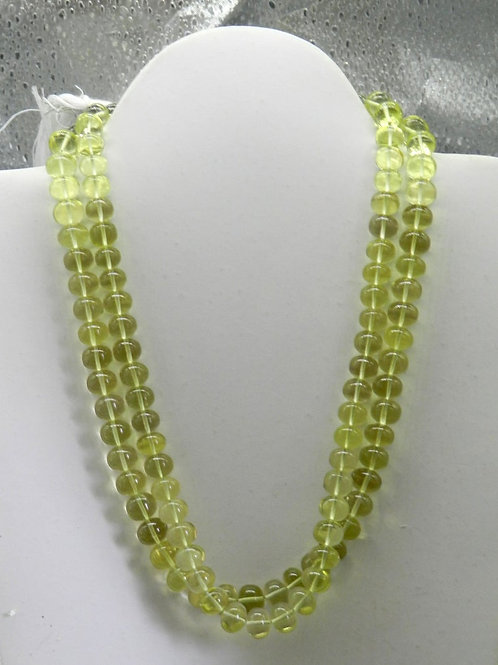 Lemon Quartz 16 '' Smooth Beads 8 To 9 MM Natural Gemstone Necklace Handmade