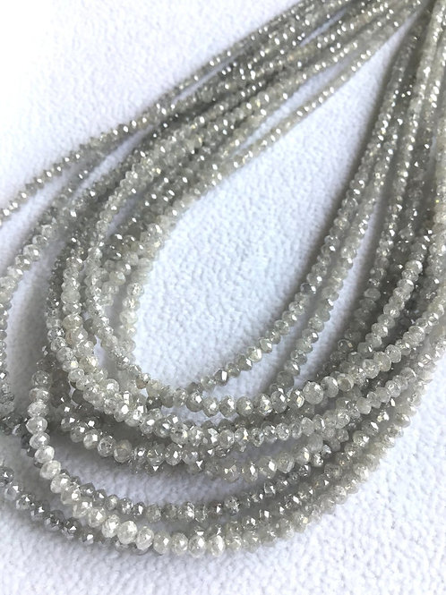 Grey Diamond Beads 16 Inches 2 To 3 mm Approx Top Color Beads 1 Strand