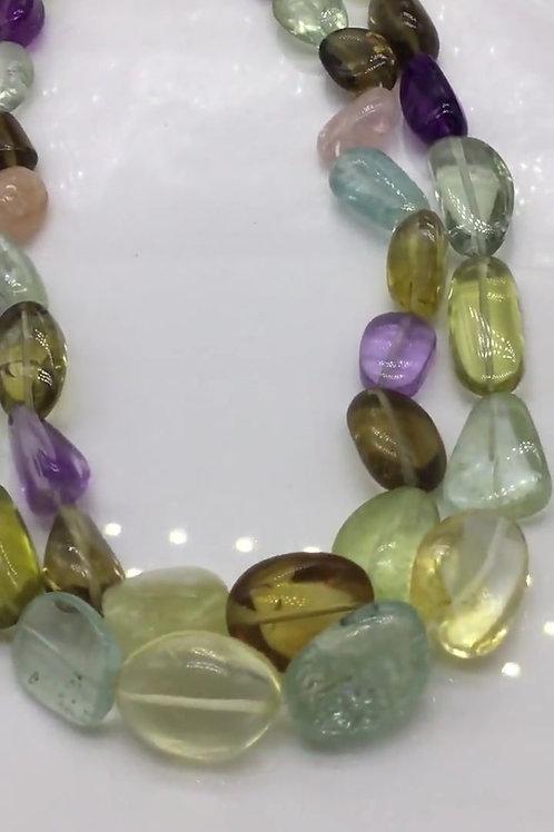 Semi Multi Mixed Quartz Smooth Tumbles Tumbles Beads Natural Gemstones Shape