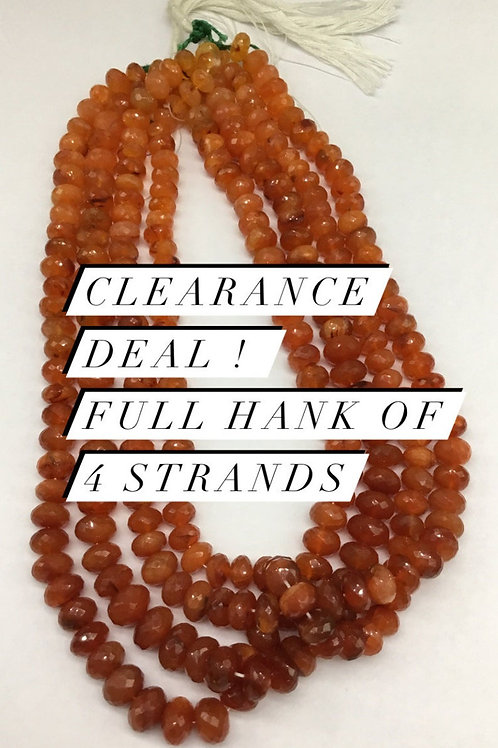 Closeout Sale price Carnelian Faceted Beads 4 strands full hank wholesale