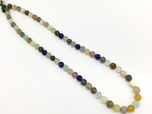 Mixed Gems Faceted Balls Multiple Gems Jewellery 16inch strand 129carats