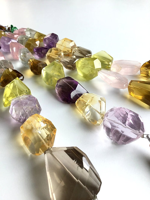 FULL HANK !!Multiple Mixed Gems Faceted Tumble 4 Strand Natural Gemstone
