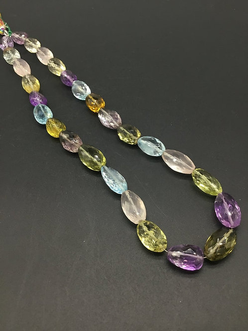 Multiple Mixed Gems Precious 16 '' Natural Gemstone Faceted Tumble 264.00 Ct