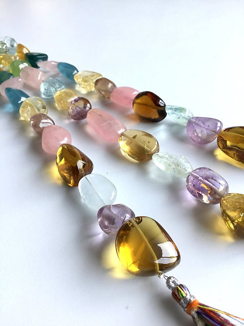 FULL HANK !! Multiple Mixed Gems Plain Tumble 3 Strand Natural Gemstone